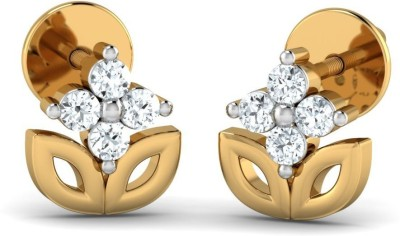 P.N.Gadgil Jewellers Simple Natural Yellow Gold 18kt Diamond Stud Earring(Yellow Gold Plated) at flipkart