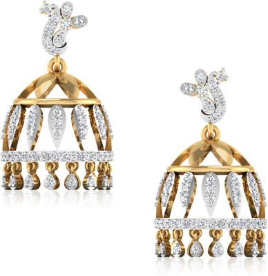 IskiUski Charvia Yellow Gold 14kt Swarovski Crystal Jhumki Earring(Yellow Gold Plated) at flipkart