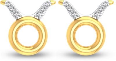 P.N.Gadgil Jewellers Taurus Yellow Gold 18kt Diamond Stud Earring(Yellow Gold Plated) at flipkart