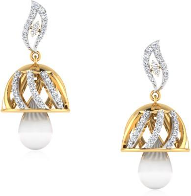 IskiUski Ethereal Yellow Gold 14kt Swarovski Crystal Jhumki Earring