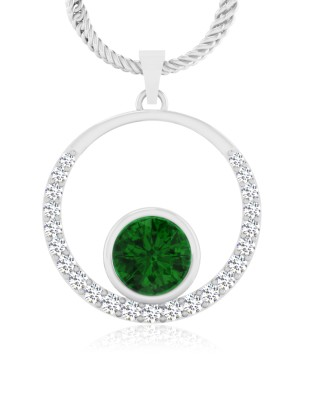 IskiUski Emerald 14kt Diamond Yellow Gold Pendant