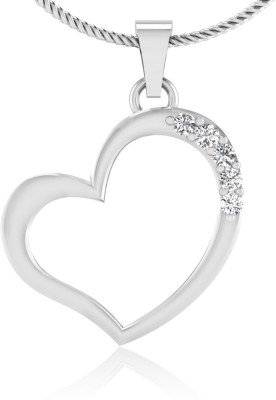 IskiUski Love Heart 14kt Swarovski Crystal White Gold Pendant IskiUski Pendants   Lockets
