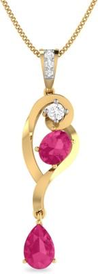 Aucent by PC Jewellers PC Jeweller The Mathea 18kt Diamond, Ruby Yellow Gold Pendant at flipkart