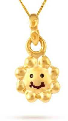 TBZ TheOriginal Cute Smiley Sun 22kt Yellow Gold Pendant TBZ TheOriginal Pendants   Lockets