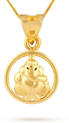 TBZ TheOriginal Lord Ganesha 22kt Yellow Gold Pendant TBZ TheOriginal Pendants   Lockets