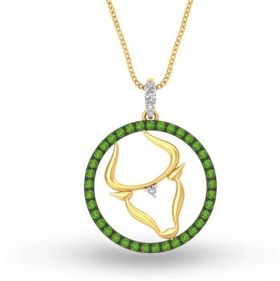 P.N.Gadgil Jewellers Taurus 18kt Sapphire Yellow Gold Pendant P.N.Gadgil Jewellers Pendants   Lockets