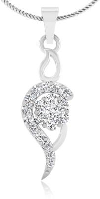 IskiUski Floral Paisley Pendant 14kt Swarovski Crystal White Gold Pendant IskiUski Pendants   Lockets