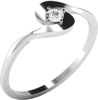 Kataria Jewellers Single Solitaire White Gold Plated 14kt Diamond White Gold ring at flipkart