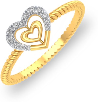 P.N.Gadgil Jewellers Heart in Heart 18kt Diamond Yellow Gold ring