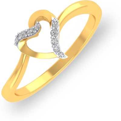 P.N.Gadgil Jewellers Glittering Love 18kt Diamond Yellow Gold ring(Yellow Gold Plated) at flipkart