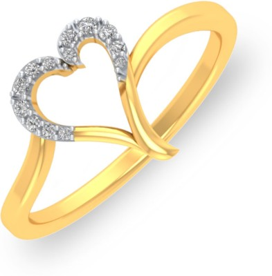 P.N.Gadgil Jewellers Shining Heart 18kt Diamond Yellow Gold ring(Yellow Gold Plated) at flipkart