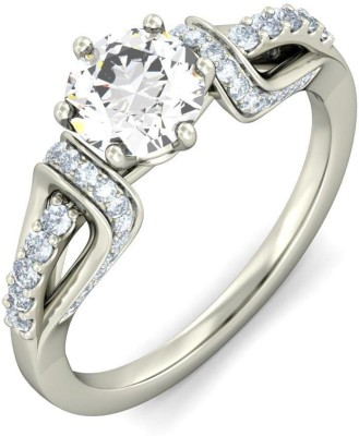Amogh Jewels Queen Sterling Silver Diamond 14K White Gold Plated Ring at flipkart
