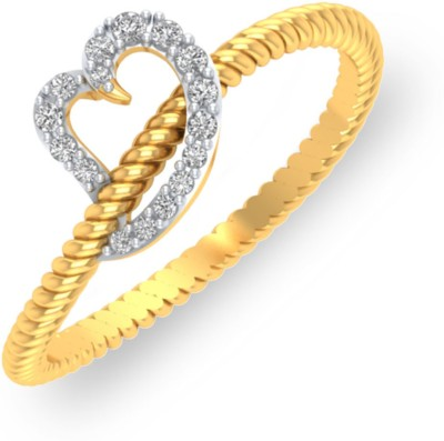 P.N.Gadgil Jewellers Roped Heart 18kt Diamond Yellow Gold ring(Yellow Gold Plated) at flipkart