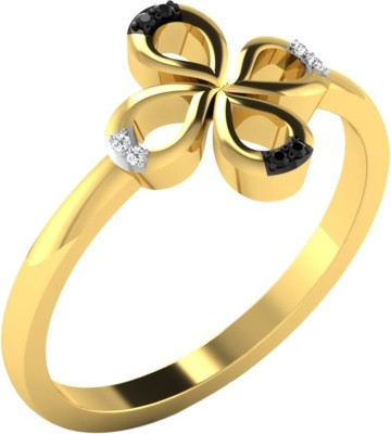 Kataria Jewellers Black and White Yellow Gold Plated 14kt Diamond Yellow Gold ring at flipkart