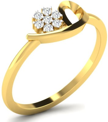 Kataria Jewellers Lovely Flower Yellow Gold Plated 14kt Diamond Yellow Gold ring at flipkart