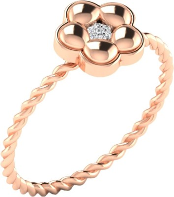Kataria Jewellers Lovely Flower Rose Gold Plated 14kt Diamond Rose Gold ring at flipkart