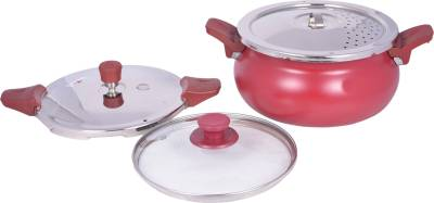 Pigeon All in One Super Cooker Outer Lid - Red 3 L Pressure Cooker (Induction Bottom, Aluminium)