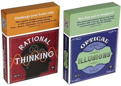 Deluxe Games and Puzzles Rational Thinking And Optical Illusions Puzzles _ Coffee Table Brain Teaser Card Sets _ 50 Cards Per Deck _ Two Decks _Bundle(1 Pieces)