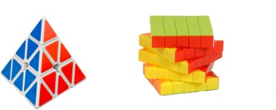 Montez Pyraminx speed white & Stickerless magic rubik 5x5 cube - set of 2(2 Pieces)  available at flipkart for Rs.749