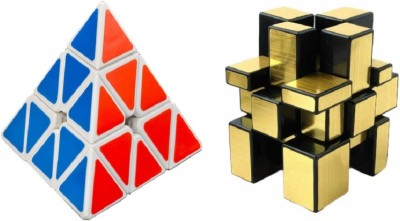 Montez Shengshou Golden Mirror & Pyraminx Speed White Cube Combo(2 Pieces)  available at flipkart for Rs.399