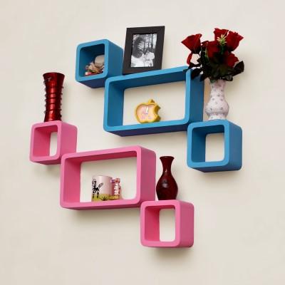 Usha Furniture Wooden Wall Shelf(Number of Shelves - 6, Blue, Pink) at flipkart