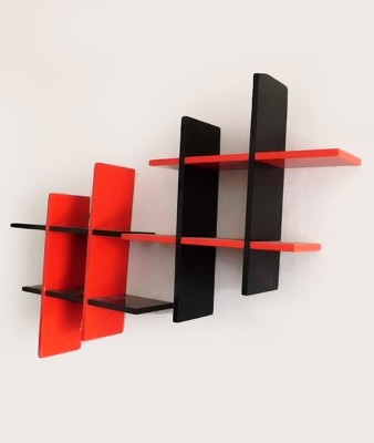 Decorhand Wooden Wall Shelf(Number of Shelves - 2, Red, Black) at flipkart