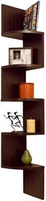 Usha Furniture Corner Mount Wall Shelves Zigzag Shape Rack Wooden Wall Shelf(Number of Shelves - 5, Brown) at flipkart