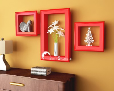 Home Sparkle Frame Shaped Wooden Wall Shelf(Number of Shelves - 3, Red) at flipkart