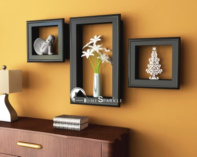 Home Sparkle Frame Shaped Wooden Wall Shelf(Number of Shelves - 3, Black) at flipkart
