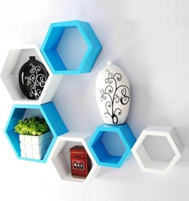 Usha Furniture Wooden Wall Shelf(Number of Shelves - 6, Blue, White) at flipkart