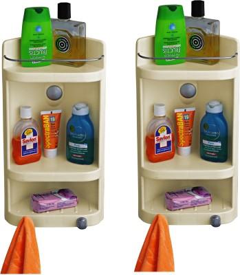 Cipla Plast Caddy Small Corner Cabinet - White (Set of 2) Polypropylene Wall Shelf(Number of Shelves - 3, White)
