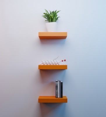 Decorhand Wooden Wall Shelf(Number of Shelves - 3, Orange) at flipkart