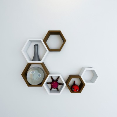 Wallz Art Hexagon Shape MDF Wall Shelf(Number of Shelves - 6, Brown)