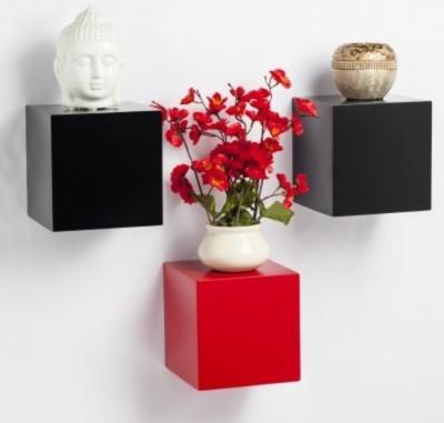 Onlineshoppee MDF Wall Shelf Wooden Wall Shelf(Number of Shelves - 3, Black, Red)