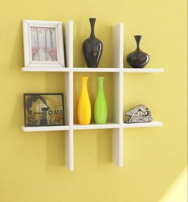 Home Sparkle Wooden Wall Shelf(Number of Shelves - 6, White) at flipkart