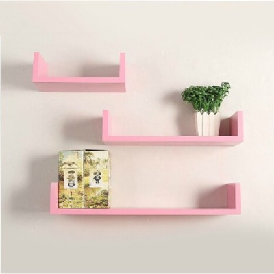 Onlineshoppee Wooden Wall Shelf(Number of Shelves - 3, Pink)