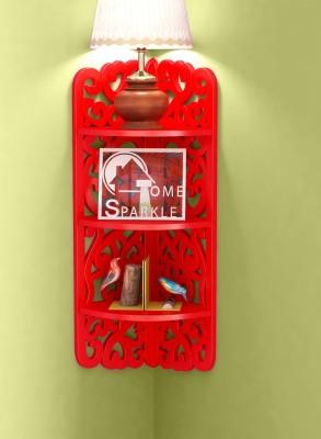 Home Sparkle 3 Tier Carved Corner MDF Wall Shelf(Number of Shelves - 3, Red) at flipkart