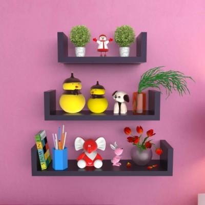 Onlineshoppee U Rack MDF Wall Shelf(Number of Shelves - 3, Black)