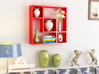 Home Sparkle Interconnected Wooden Wall Shelf(Number of Shelves - 6, Red) at flipkart