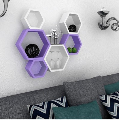 Wallz Art Hexagon Shape MDF Wall Shelf(Number of Shelves - 6, Purple)
