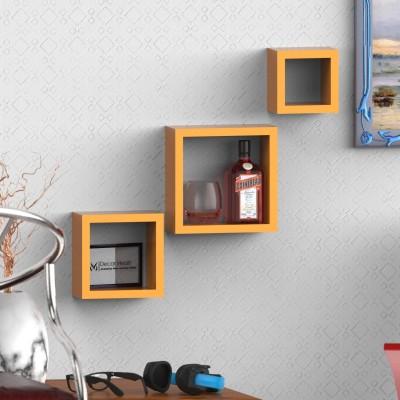 Decor Heart Square shape set of 3 MDF Wall Shelf(Number of Shelves - 3, Orange) at flipkart