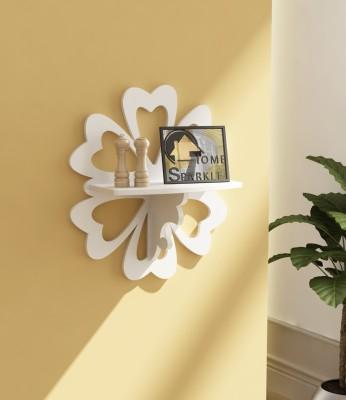 Home Sparkle Carved MDF Wall Shelf(Number of Shelves - 1, White) at flipkart