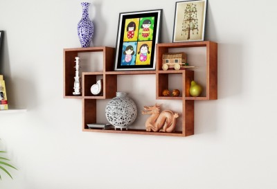 Home Sparkle Interconnected Wooden Wall Shelf(Number of Shelves - 8, Brown) at flipkart