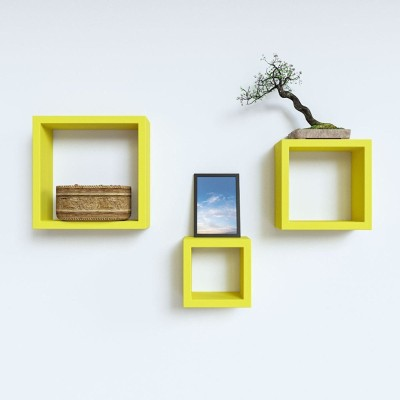 Custom Decor Nesting Wooden Wall Shelf(Number of Shelves - 3, Yellow)