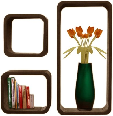 Decorhand Wooden Wall Shelf(Number of Shelves - 3, Brown) at flipkart