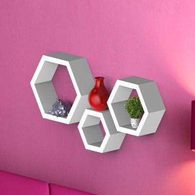 Decor Heart Hexagon shape set of 3 MDF Wall Shelf(Number of Shelves - 3, White) at flipkart