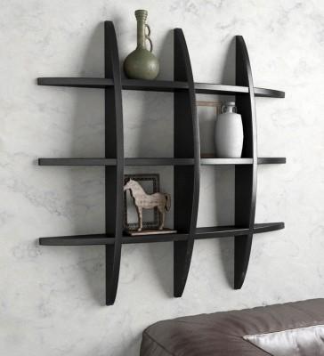 Decorhand Wooden Wall Shelf(Number of Shelves - 1, Black) at flipkart