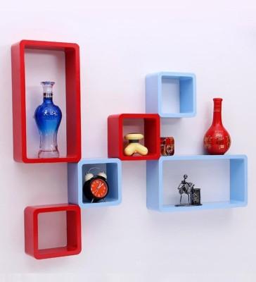 Artesia Wooden Wall Shelf(Number of Shelves - 6, Blue, Red) at flipkart