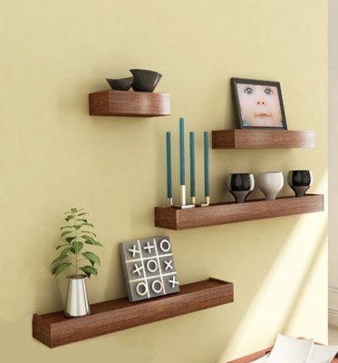 Decorhand Wooden Wall Shelf(Number of Shelves - 4, Brown) at flipkart