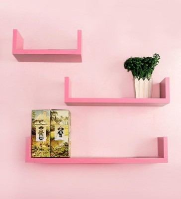 Artesia Wooden Wall Shelf(Number of Shelves - 3, Pink) at flipkart